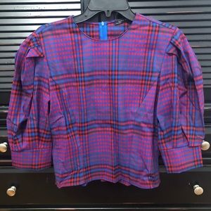 Cropped Zara Plaid Shirt With Sleeve Details